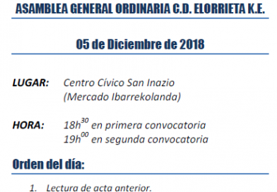 Elorrieta K.E.aren Ohiko Batzar Orokorra / Asamblea General Ordinaria del C.D. Elorrieta